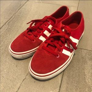 Adidas sneakers red white suede athletic shoes fall winter training street wear